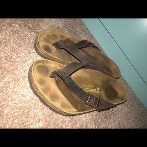 Leather Brown Birkenstock Flip-Flops
