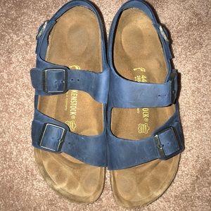 Blue Leather Birkenstock Sandals