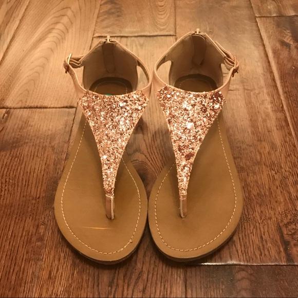 Xoxo Rose Gold Glitter Sandals