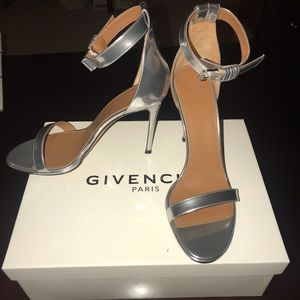 Givenchy Metallic Silver Ankle Strap Heel Sandals