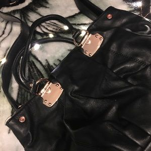 Faux leather satchel with rose gold accent