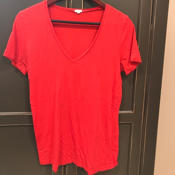 2210829b J. Crew Tops | Jcrew Red Cotton Short Sleeve Vneck T M | Poshmark