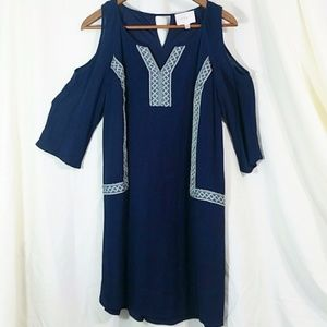 Skies are Blue boho dress cold shoulder navy