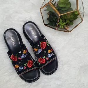 Vintage Embroidered Platform Sandals