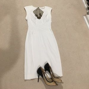 Black Halo winter white dress with sheer lace back