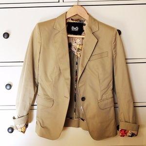 D&G Dolce and Gabbana Beige Blazer Jacket Floral