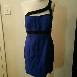 Mystic bright blue and black one shoulder dress