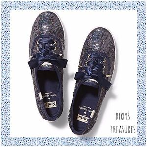 KATE SPADE NEW YORK NAVY MESSY SEQUINS SNEAKERS