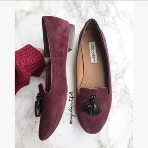 66188467b4f Steve Madden Shoes - Steve Madden Chaufur Burgundy Suede Tassel Loafers
