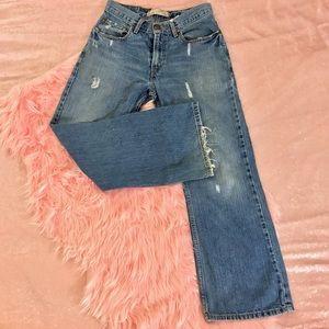 Levi's 527 Red Tab Distressed Blue Denim Jeans