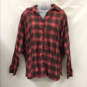 Tops - NWT Plaid batwing Button Down Blouse S/M