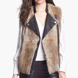 BCBGMaxAzria Rabbit Fur Leather Jacket/Vest SMALL