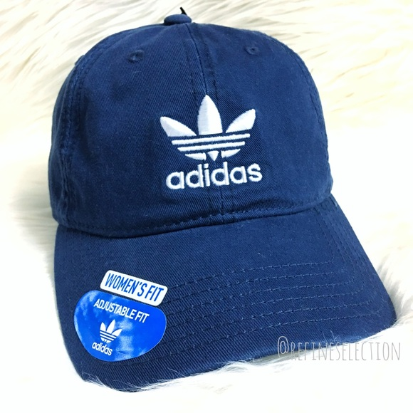 1b3d16c1e52 Adidas Trefoil Navy Blue Relaxed Strapback Dad Hat