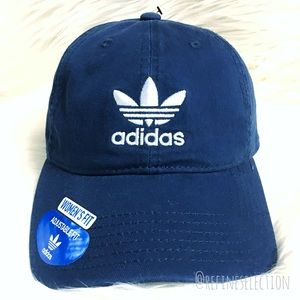 b6c99295be6 adidas Accessories - Adidas Trefoil Navy Blue Relaxed Strapback Dad Hat