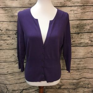 The Limited Purple 3/4 Sleeve Cardigan Size L