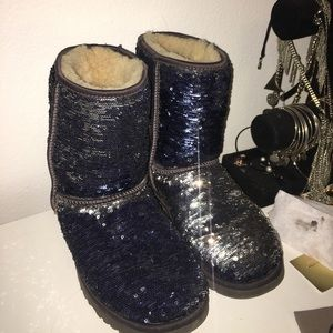 UGG Shoes - Silver and Navy Blue Sequin Uggs!!