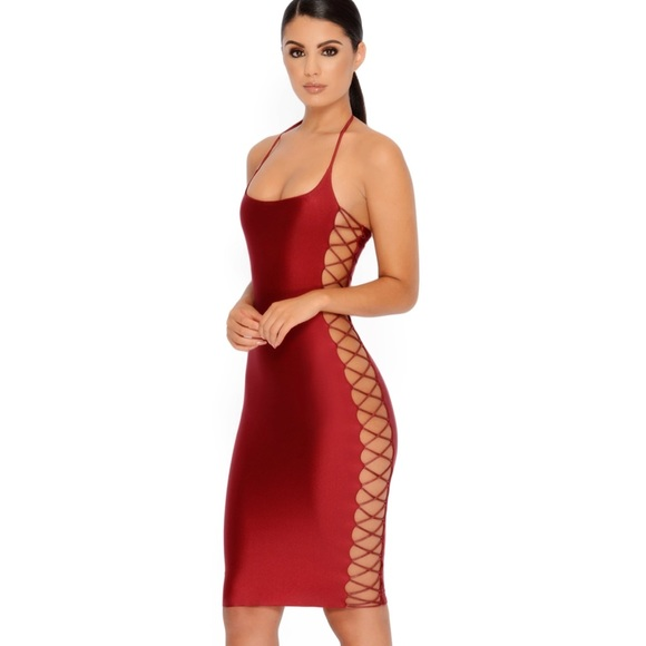 6327544562c Oh Polly Bodycon Knee Length Cut Out Dress Size 6