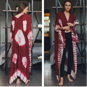 Tops - TIE DYE KIMONO pink red white COVER UP robe long