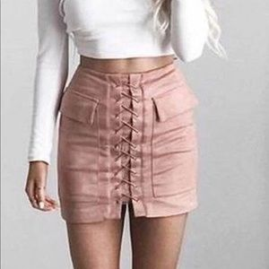 Pink Lace Up Suede Skirt