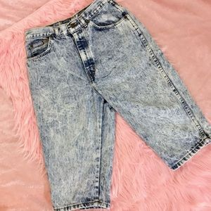 Vintage 80s Acid Wash High-Waist Denim Jean Shorts