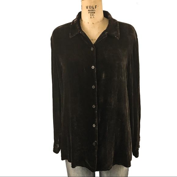 3d1c37f515b1c Eileen Fisher Tops - Eileen Fisher Rayon Silk Velvet button down shirt