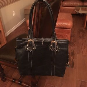EUC Dooney and Bourke leather black tote purse