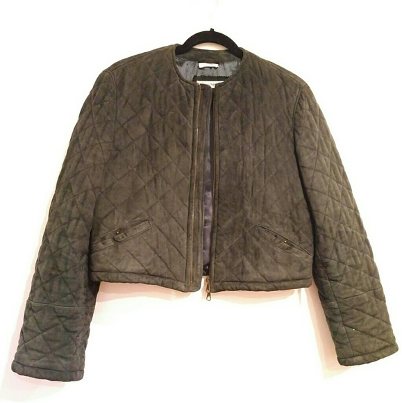 later united states cheap for sale Emporio Armani Women's Quilted Leather Jacket 42