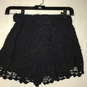 LF Black Crotchet Shorts