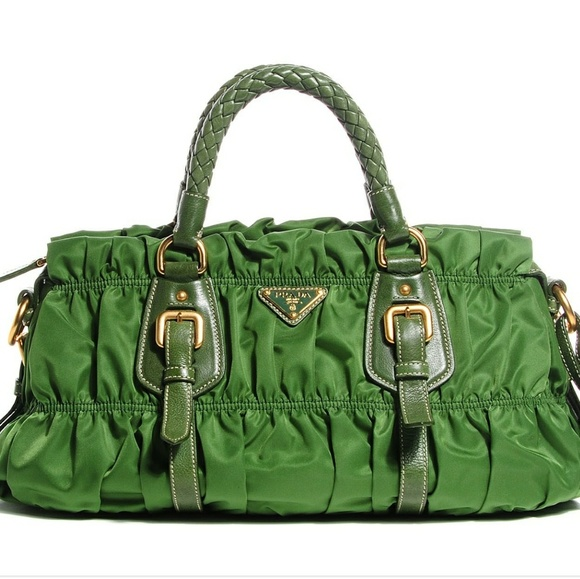 f21f54819ebd ... low price authentic prada green ruched small tote c9341 133b0