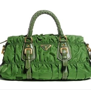 Authentic Prada Green Ruched Small Tote