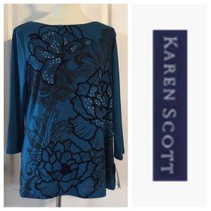 Tops - NWT Karen Scott Embellished Tunic