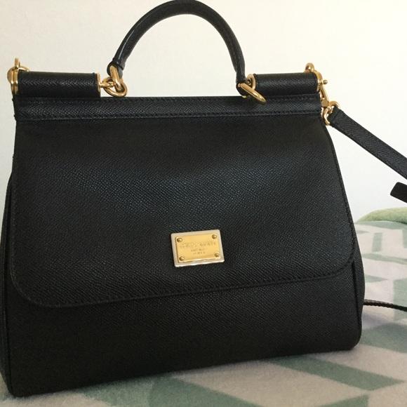 7615592ae56 Dolce & Gabbana Bags | Dolce Gabbana Small Black Leather Sicily Bag ...