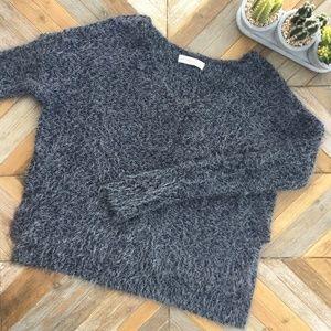 •A&F• Fuzzy Grey Sweater w/Metallic Threading
