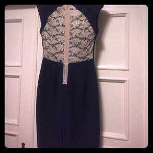 Navy and cream lace cocktail dress