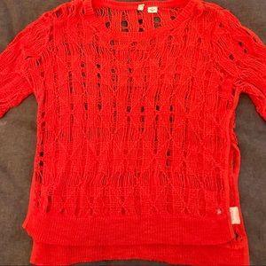 Anthropologie Moth small red shortsleeve sweater