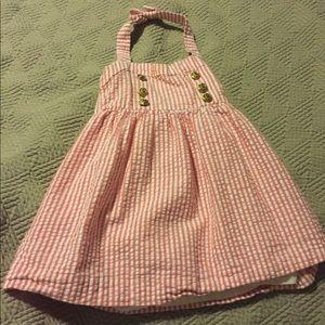 Puckered pinstriped dress