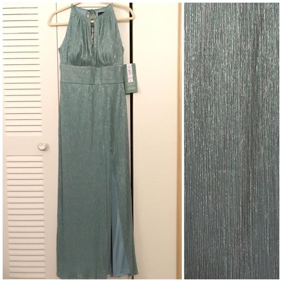 Rm Richards Dresses Halter Neck Shimmer Slate Blue Evening Gown