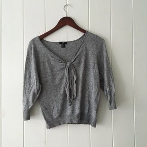 H&M Gray Tie Front V-Neck Knit Sweater