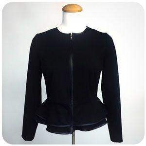 {{ Cynthia Rowley }} Ponte & Leather Peplum Blazer