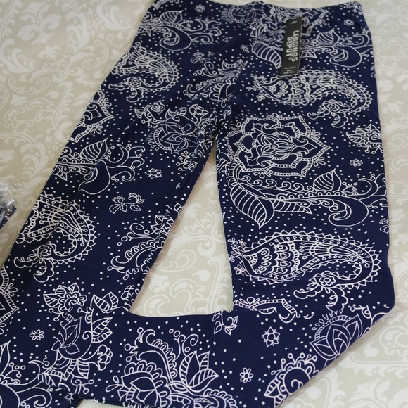 00259b4841 Leggings Depot Pants | Paisley Floral Print Blue Leggings | Poshmark