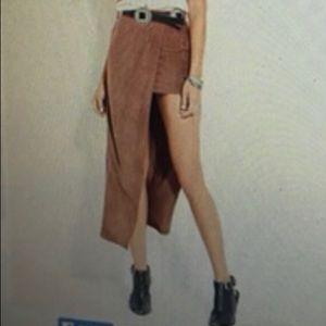 Faux suede mini/maxi skirt