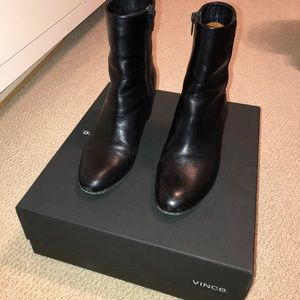 Vince black leather boot wedges