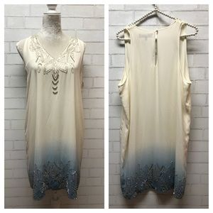 Sam Edelman / beaded cream blue ombré dress