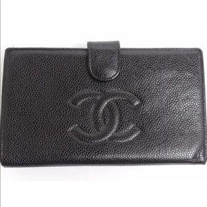 CHANEL Caviar Leather CC Logo Wallet Black/Gold HW