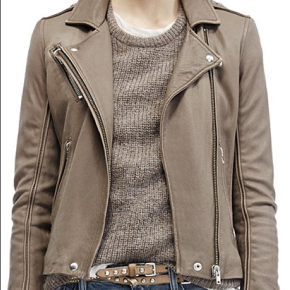 "IRO ""Tara"" leather moto jacket taupe sz 42(us 4/6)"