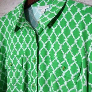 Charter Club Woman Top Size 1X Green Print Shirt