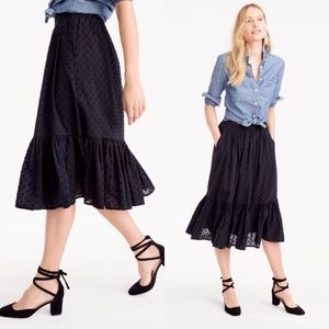 J. Crew Clip-dot tiered Midi skirt