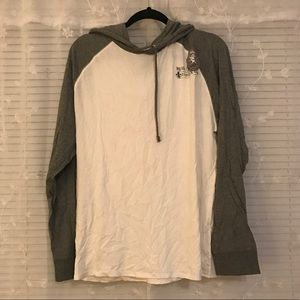 Express white/grey long sleeve with hood shirt