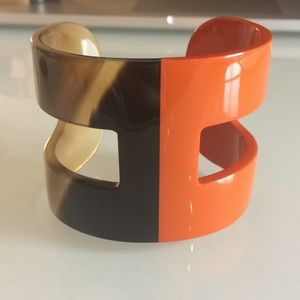 Hermes Horn and Orange Lacquer H Cuff Bracelet