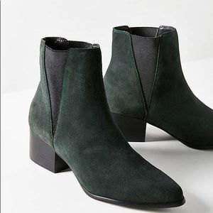 Urban Outfitters Green Suede Booties